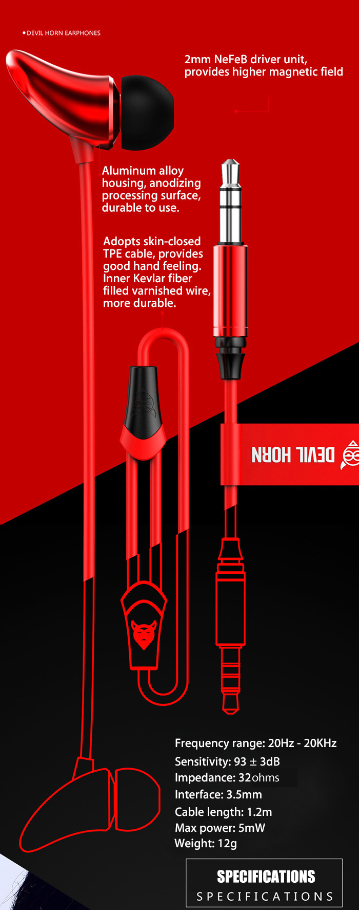 EMIE ME01 HiFi Music In-ear Earphones Stylish Design 120cm Cable 3.5mm Jack