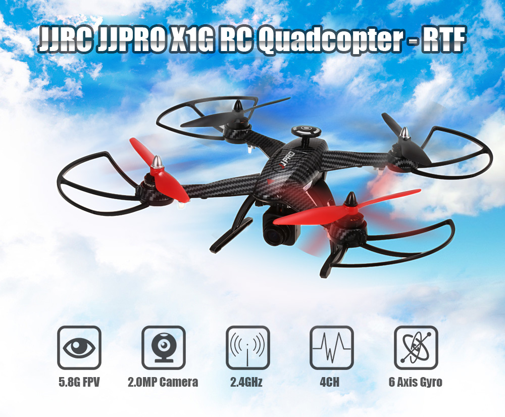 JJRC JJPRO X1G 5.8G FPV 2.4GHz 4CH 6 Axis Gyro RC Quadcopter with Idle Speed Adjustment