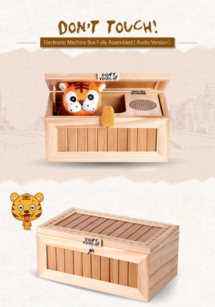 Plush Tiger Style Wooden Box with Sound Electronic Machine Fully Assembled