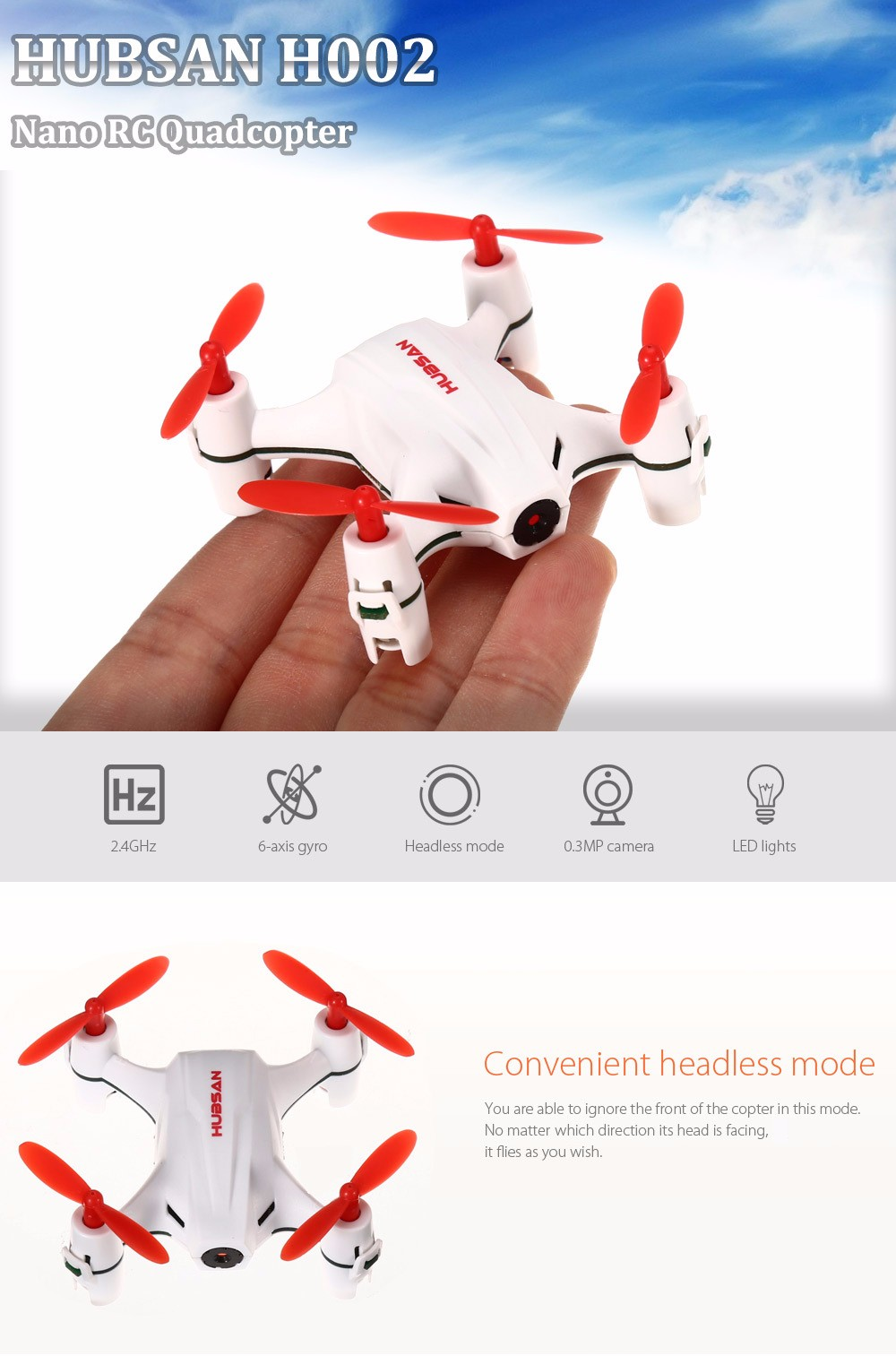 HUBSAN H002 0.3MP 2.4GHz 4CH 6 Axis Gyro Nano Brushed RC Quadcopter with Headless Mode