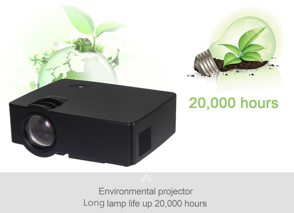 UhAPPy U80 PRO LCD Projector Android 4.4 1000Lm 800 x 480 Pixels WiFi with AV / Audio / HDMI / VGA / USB 2.0 / SD Card Slot