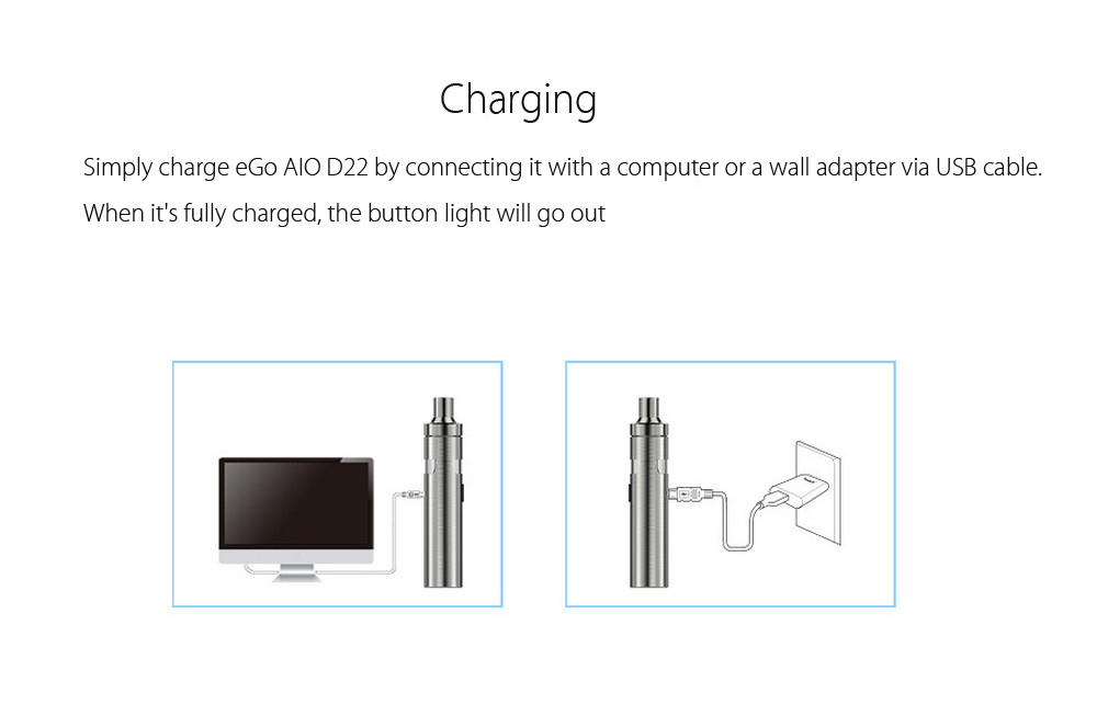 Original Joyetech eGo AIO D22 Starter Kit with 2.0ml Capacity / 1500mAh / 0.6 ohm Tank Atomizer for E Cigarette