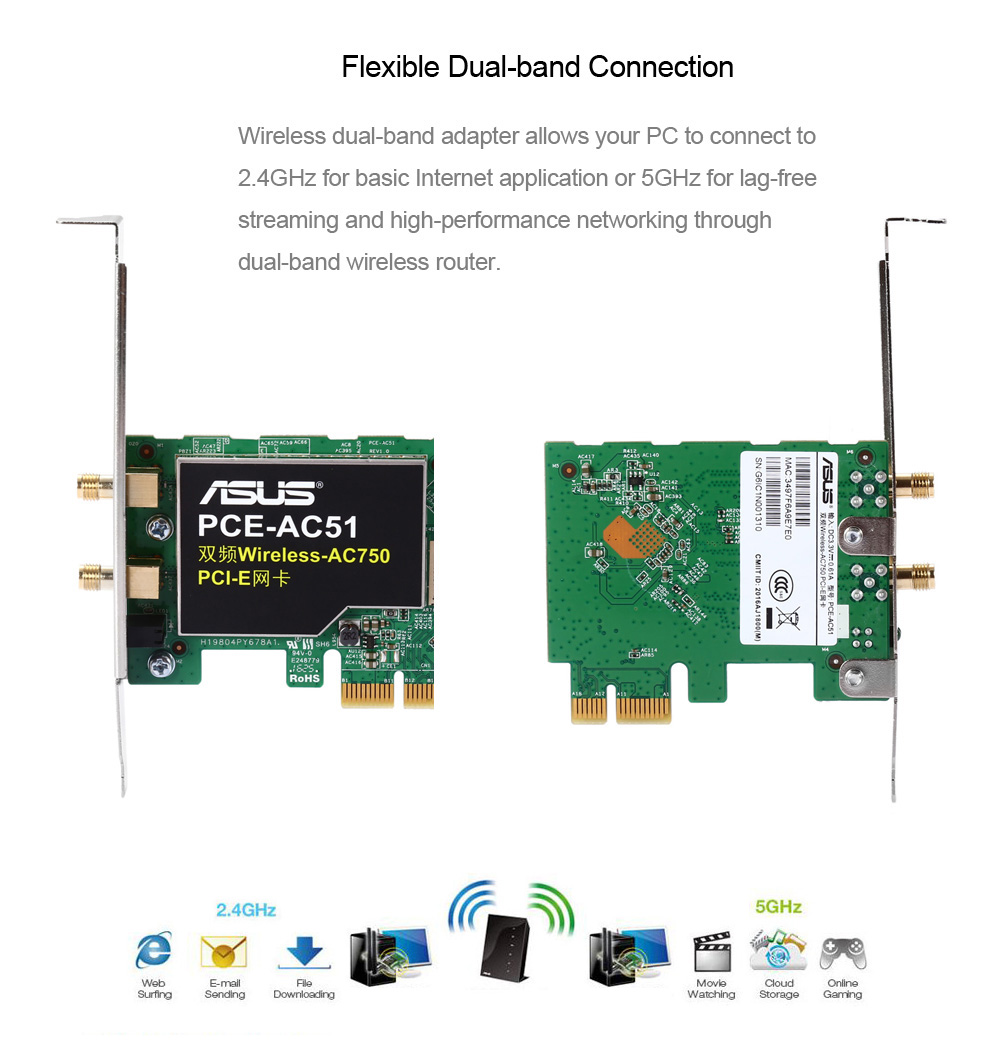 Original ASUS PCE - AC51 11AC 750Mbps Wireless Network Card Dual-band 2.4GHz / 5.0GHz PCI-E Adapter