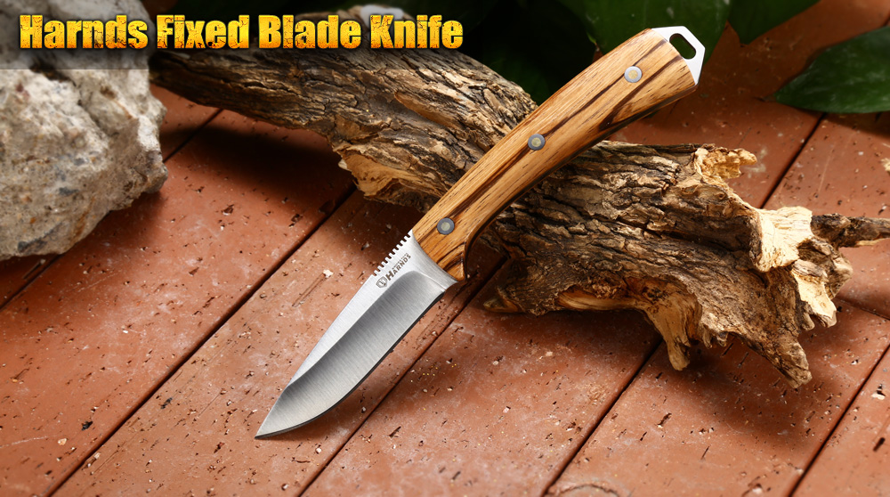 Harnds Cheetah Full Tang Fixed Blade Knife with Wooden Handle