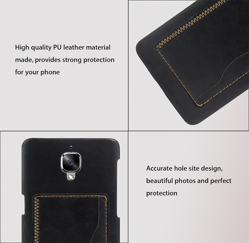 PU Leather Protective Phone Back Case with Stand Bracket Card Slot for OnePlus 3