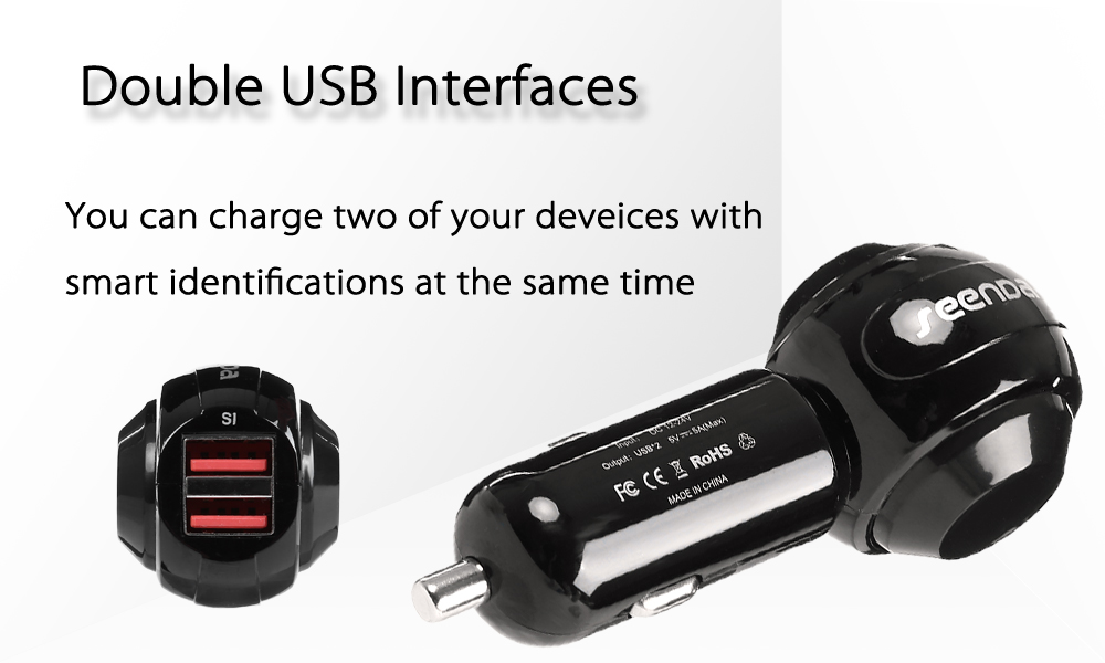 SeenDa ICH - 02CA25 Creative Car Charger with Dual USB Comprehensive Protection