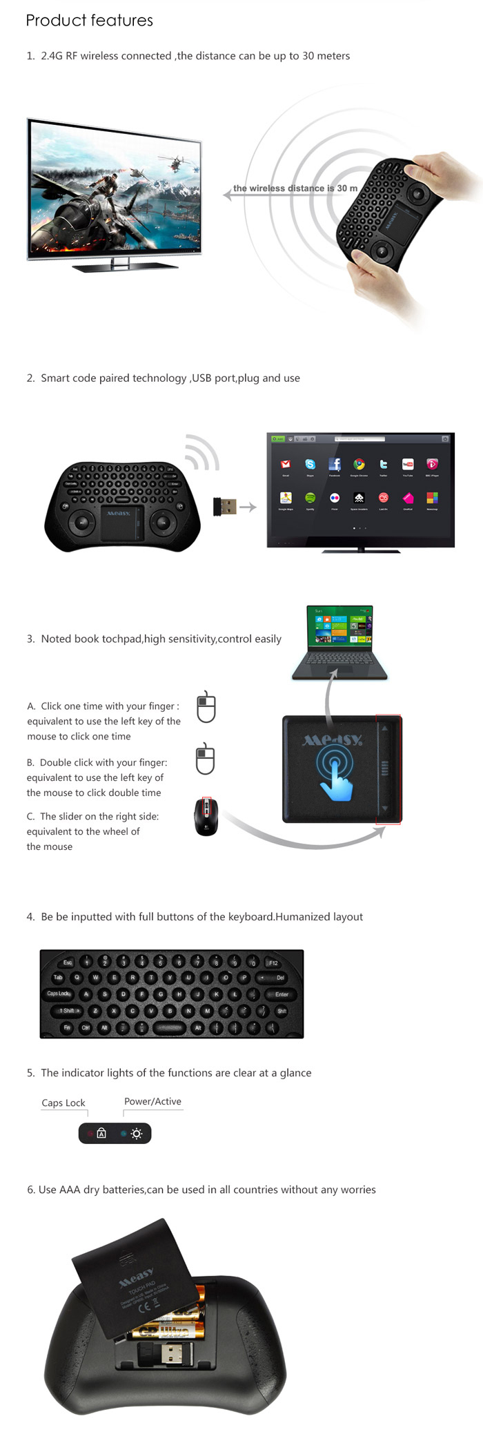 MEASY GP800 2.4GHz Wireless Keyboard Air Smart Mouse Tochpad Remote Control for TV Box / Laptop / Tablet PC
