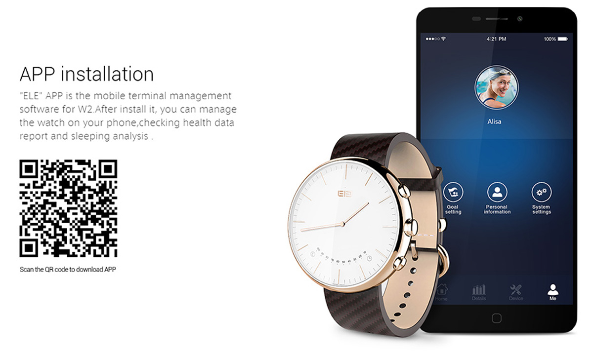Elephone W2 Smart Watch with Pedometer Remote Camera Sedentary Alert Function