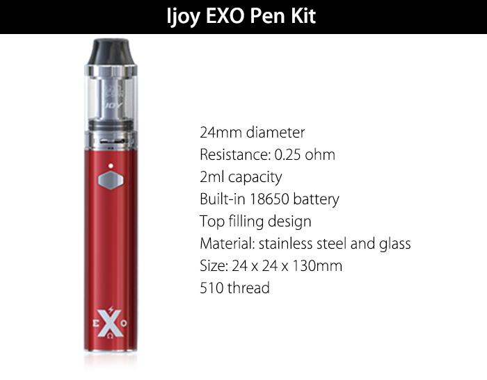 Original Ijoy EXO Pen Kit with Built-in 18650 Battery / 24mm / 0.25 ohm / 2ml / Top Filling Design Clearomizer