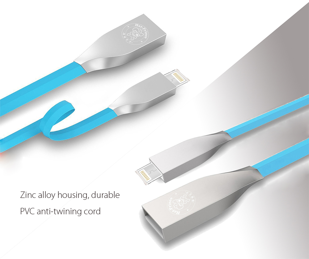 Hat - Prince Zinc Alloy Housing 8 Pin Micro USB Data Transfer and Charging Cable PVC Anti-twining Cord - 92cm