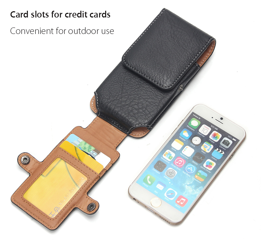 ENKAY PU Leather Mountaineering Mobile Bag Protective Case with Card Slot for iPhone 6 / 6S