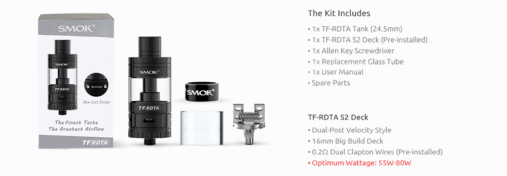 Authentic Smok TF-RDTA Rebuildable Dripping Tank Atomizer with 5.0ml / S2 Deck / No Leaking / Side Airflow for E Cigarette