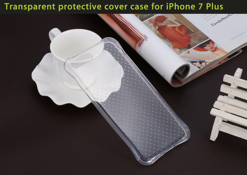 Transparent Style TPU Soft Case Protective Cover for iPhone 7 Plus with Salient Points Design