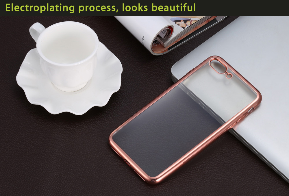 TPU Soft Protective Back Case for iPhone 7 Plus Ultrathin Transparent Style Shell with Electroplated Edge