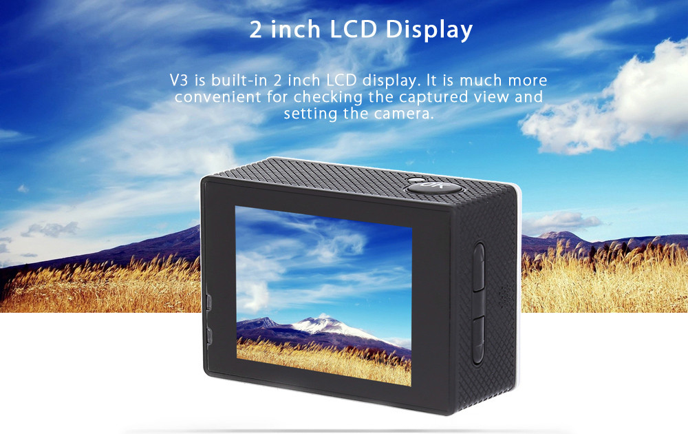 V3 4K 30fps WiFi Action Sports Camera 16MP 2 inch LCD Display