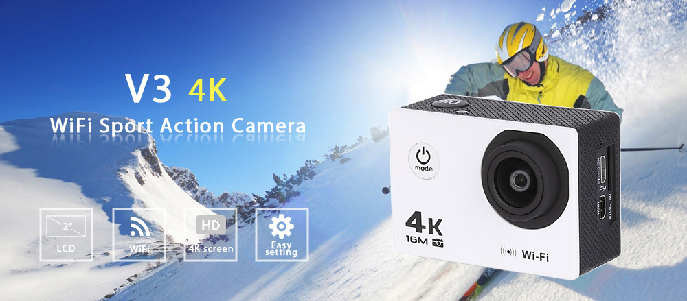 V3 4K 30fps WiFi Action Sport Camera 16MP 2 inch LCD Display Max 64G Micro SD Card