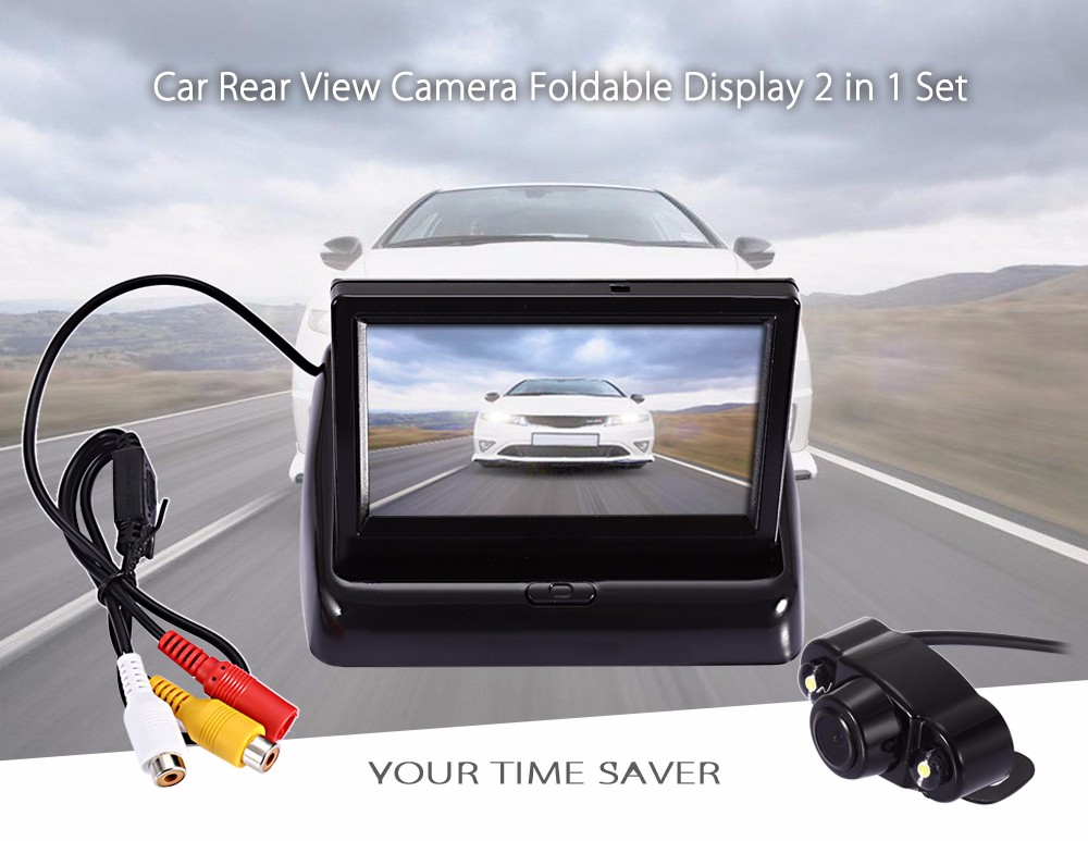Car Rear View Reverse Camera 2 LED Lights Night Vision Foldable 4.3 inch Desktop Display