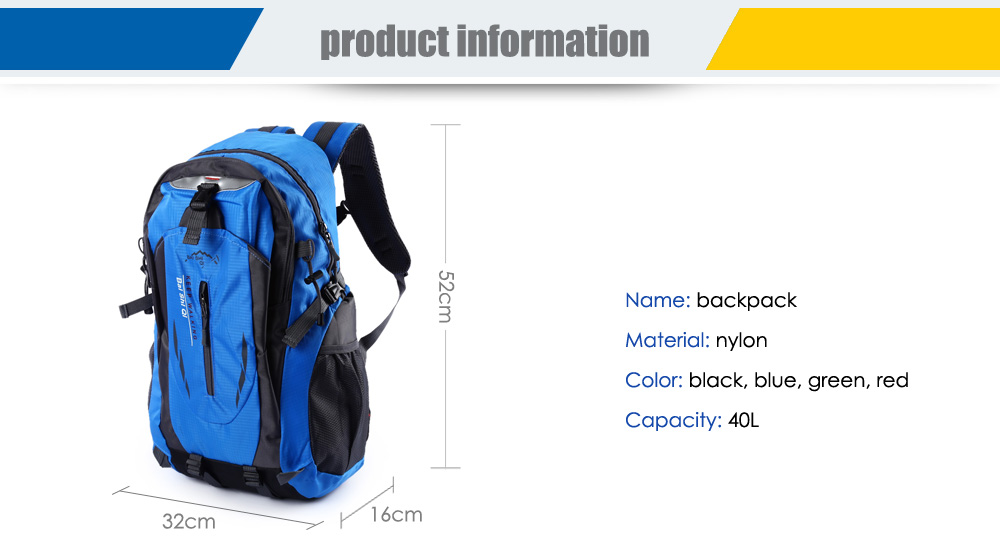 Unisex Lightweight Nylon 40L Travel Backpack