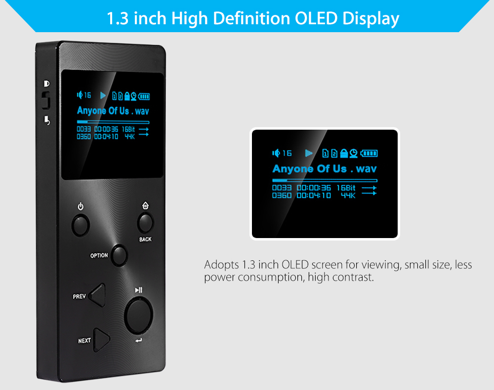 XDUOO X3 HiFi Lossless Music Player MP3 1.3 inch OLED Display Support Two Max 128G TF Card