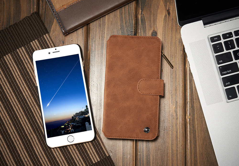 2 in 1 PU Leather Pocket Protective Case for iPhone 6 Plus / 6S Plus Full Body Mobile Shell with Card Slot