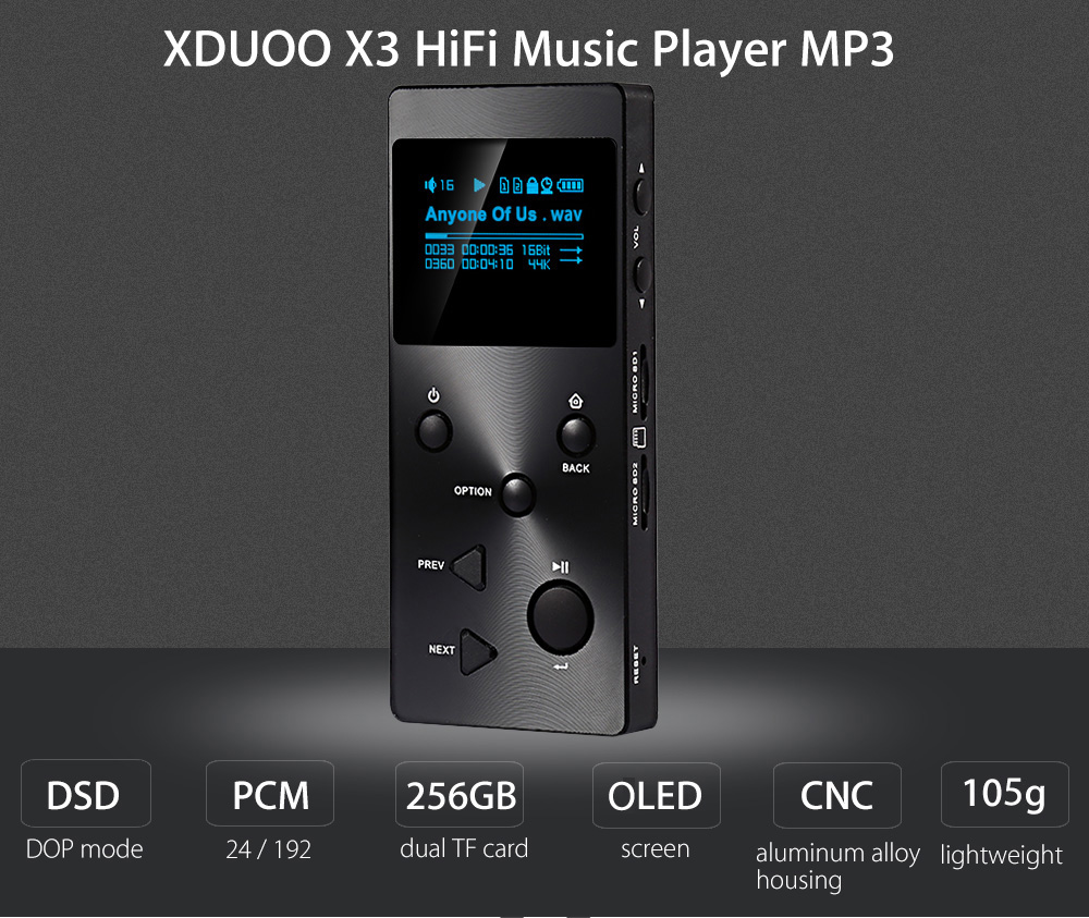 XDUOO X3 HiFi Lossless Music Player MP3 Supporte l'écran OLED 1,3 pouces Deux cartes Max 128G TF