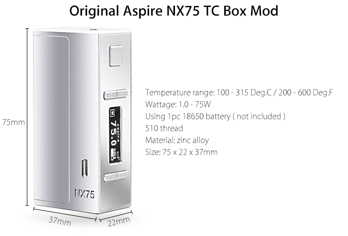 Original Aspire NX75 TC 1.0 - 75W Box Mod with 100 - 315C / 200 - 600F