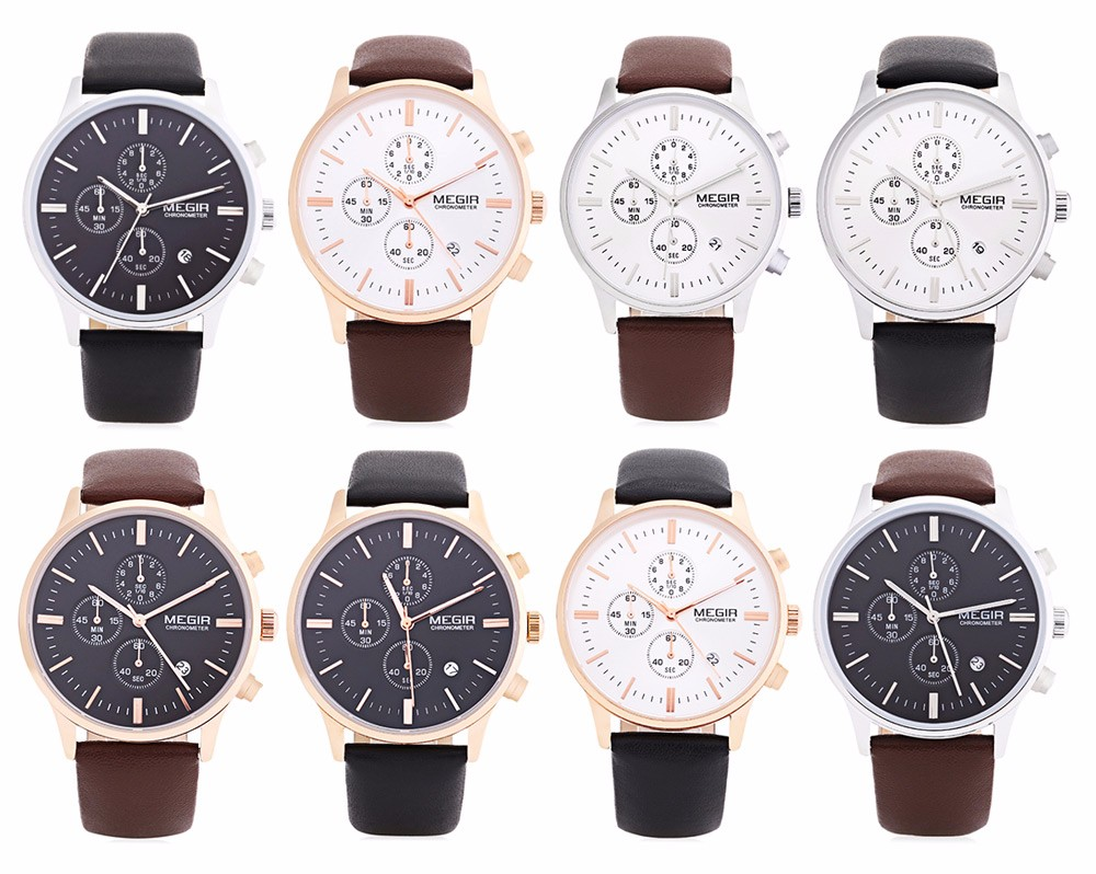 MEGIR 2300 Male Japan Quartz Watch Date Display Leather Band 30M Water Resistance