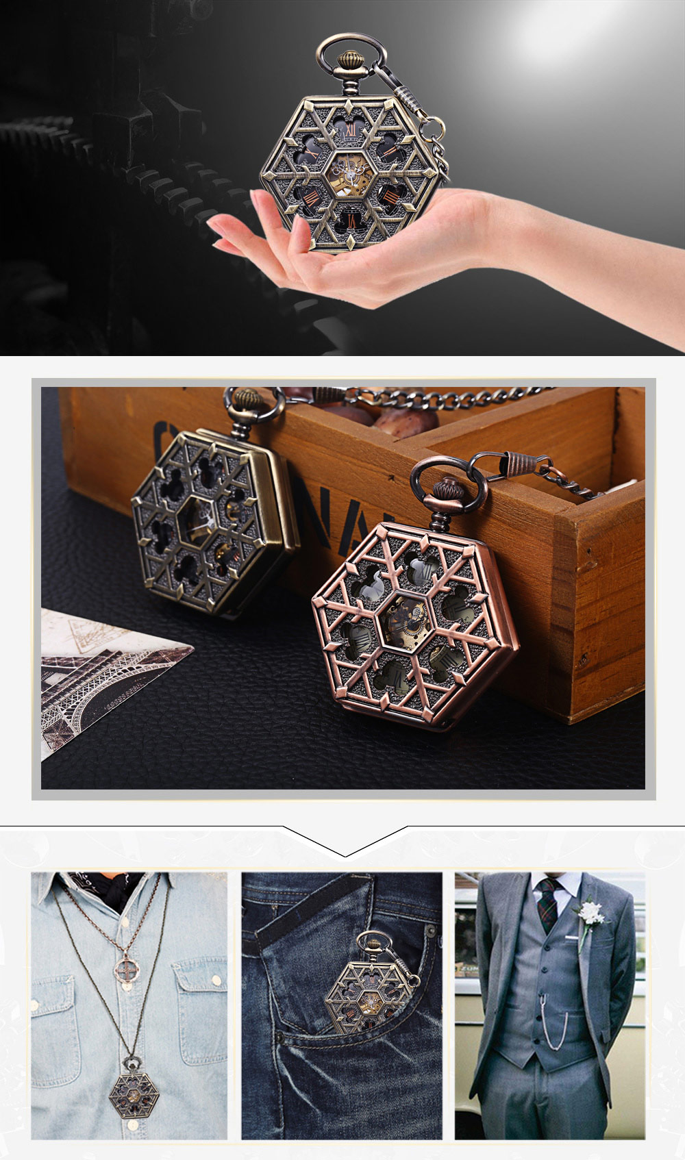 Hexagon Dial Hollow-out Flip Cover Mechanical Pocket Watch Chain Table