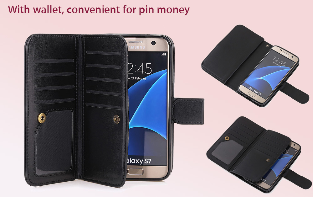Crazy-horse PU Leather Wallet Protective Case for Samsung Galaxy S7 Full Body Mobile Shell with Card Slots Lanyard
