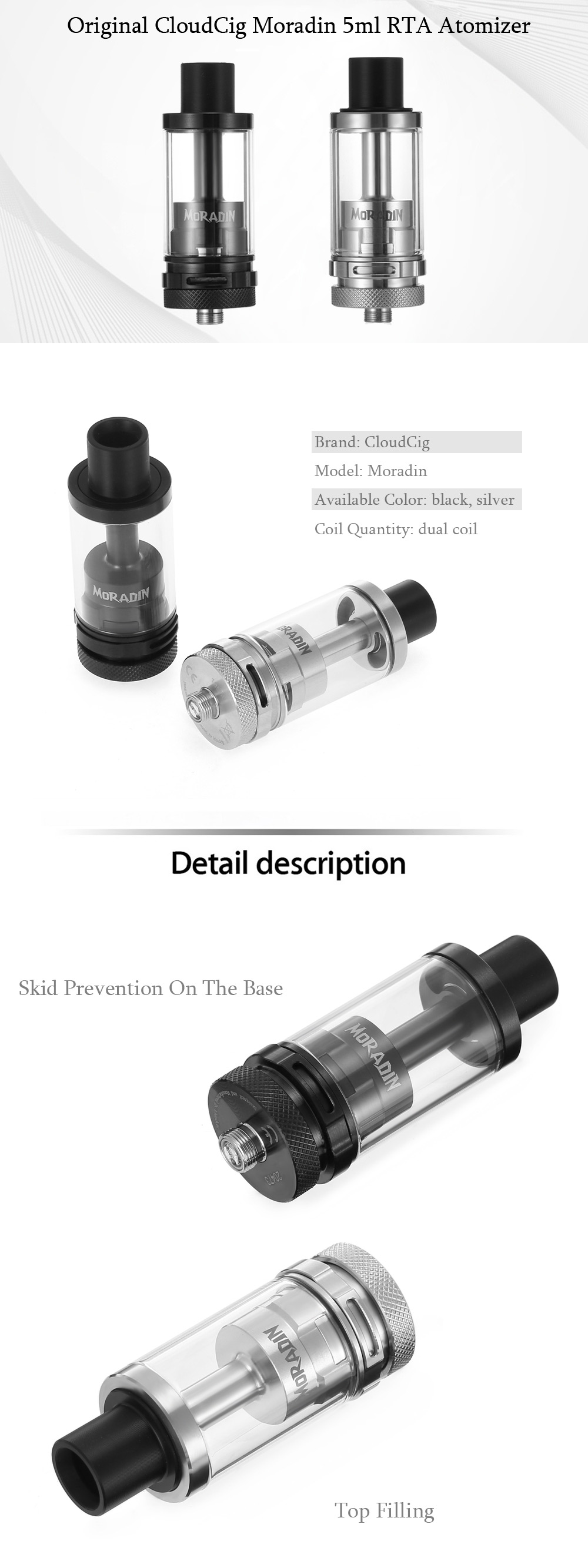 Original CloudCig Moradin 5ml RTA with 2 Air Slots / Exclusively Juice Flow Control System / Top Filling E Cigarette Rebuildable Tank Atomizer