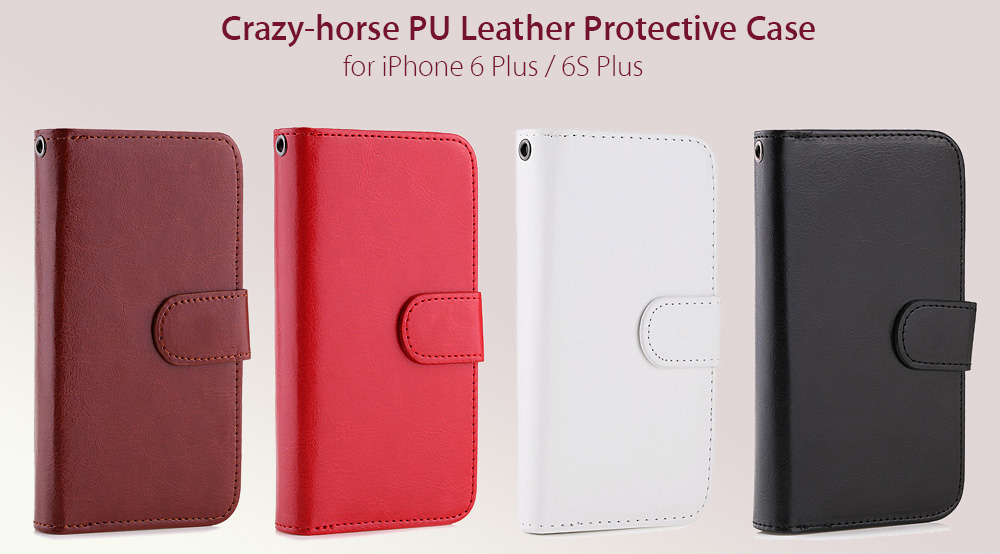Crazy-horse PU Leather Wallet Protective Case for iPhone 6 Plus / 6S Plus Full Body Mobile Shell with Card Slots Lanyard