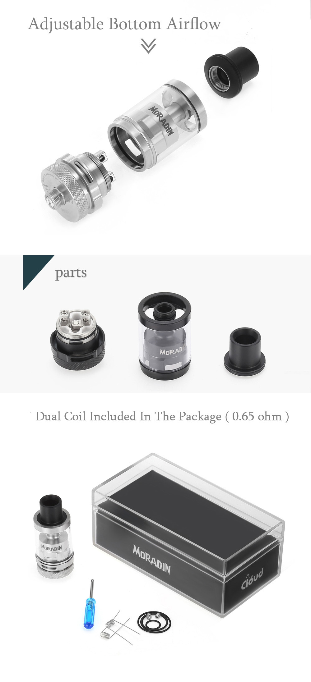 Original CloudCig Moradin 3ml RTA with 2 Air Slots / Exclusively Juice Flow Control System / Top Filling E Cigarette Rebuildable Tank Atomizer
