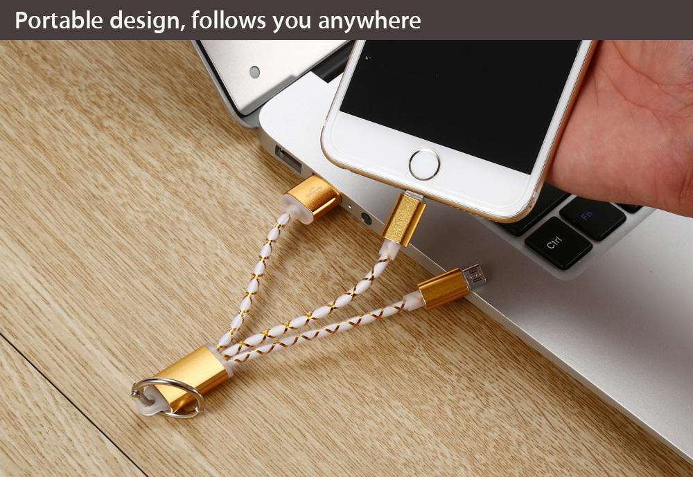 Portable Aluminum Alloy Housing USB Charging Cable with 8 Pin Adapter + Micro USB Connector