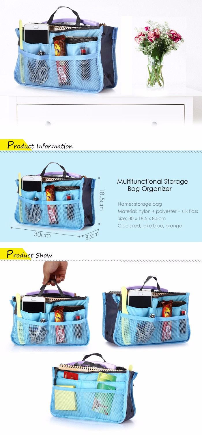 Double-zipper Makeup Pouch Cosmetic Pocket Storage Bag Organizer