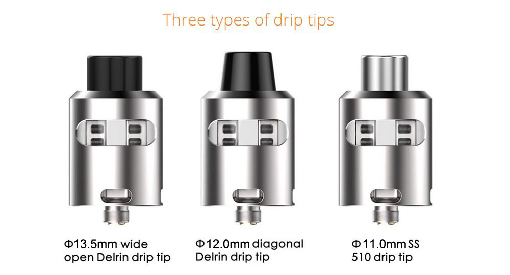 Original Geekvape Tsunami 24 RDA Glass Window Version with Improved Velocity Style Deck / 3 Types of Drip Tip E Cigarette Rebuildable Dripping Atomizer