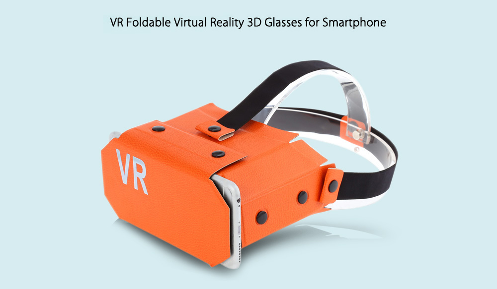 VR Virtual Reality 3D Glasses Foldable Portable Design Leather Material for 3.5 - 5.5 inch Smartphone