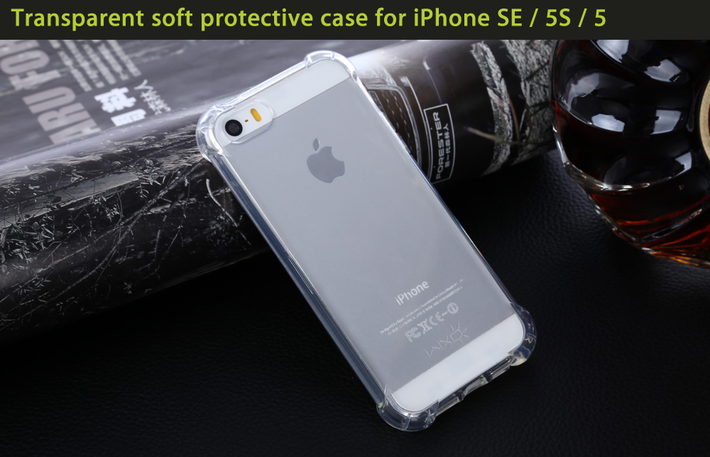 WXD Transparent TPU Soft Protective Case Nano Tempered Glass Screen Film for iPhone SE / 5S / 5