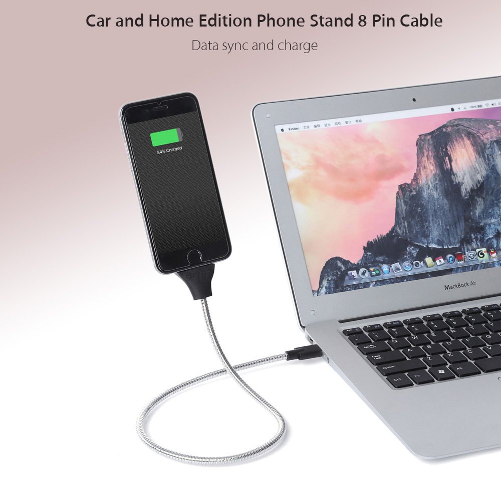 Car and Home Edition Charging Stand Design 8 Pin to USB Data Sync Charge Cable