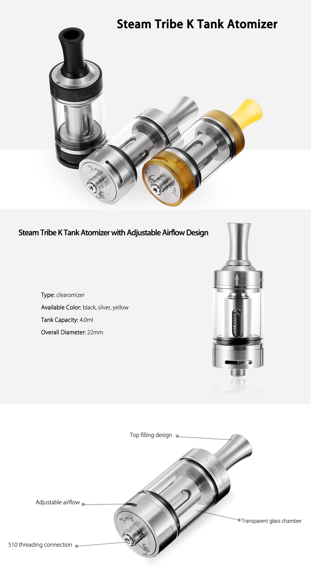 Steam Tribe K Tank Atomizer Supporting Top Filling / PEEK Insulation E Cigarette Clearomizer