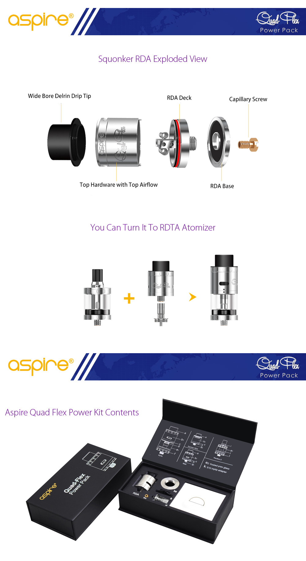 Original Aspire Quad Flex Power Kit RDA with Turboline Top Airflow System / RDTA Tank Adapter E Cigarette Rebuildable Dripping Atomizer