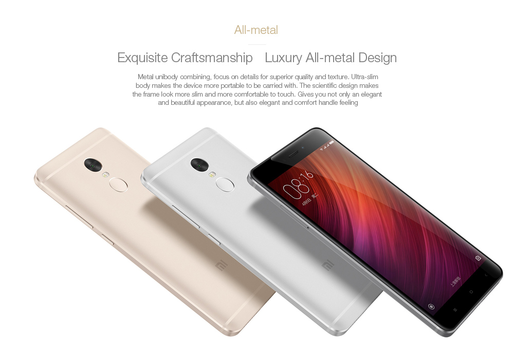 Xiaomi Redmi Note 4 International Edition MIUI 8 5.5 inch 4G Phablet Helio X20 2.1GHz Deca Core 3GB RAM 64GB ROM 2.5D Arc Screen Fingerprint Scanner 13.0MP Rear Camera