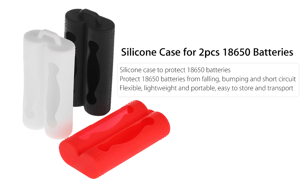 Protective Silicone Case for 2pcs 18650 Batteries