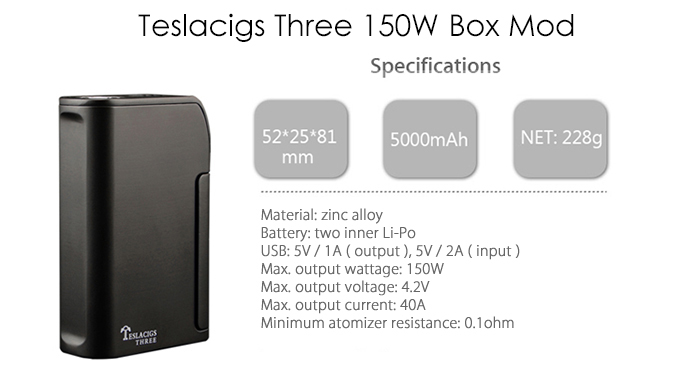 Original Teslacigs Three 150W Box Mod with 5000mAh Li-Po Battery / Pass-through Technology / Over Sized Fire Button E Cigarette Vape Mod