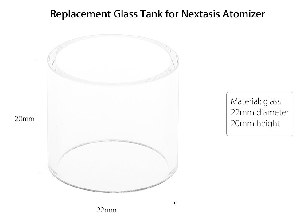 Replacement Glass Tank for Nextasis Atomizer E Cigarette Accessory