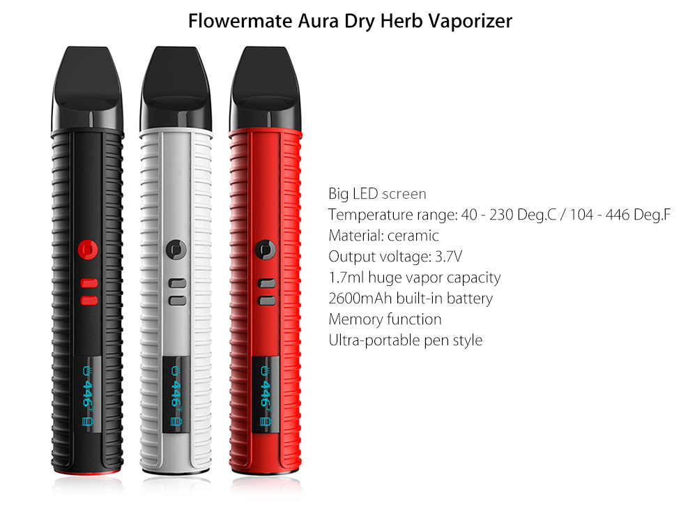 Original Flowermate Aura Dry Herb Vaporizer Pen with 2600mAh Battery / 40 - 230C / Ceramic Heating Chamber / LED Display