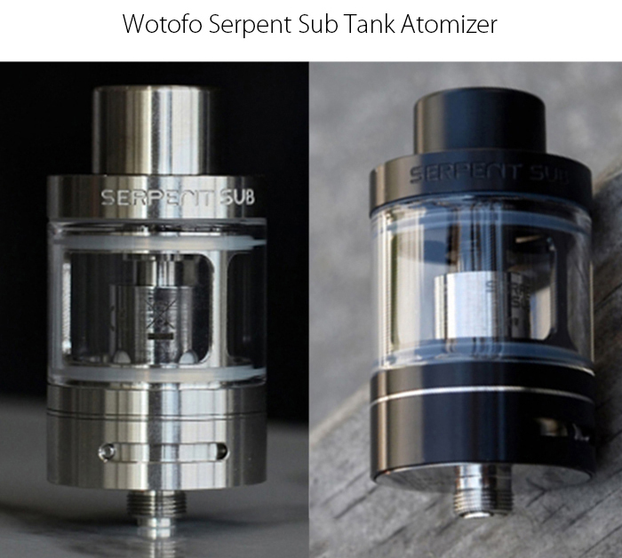 Original Wotofo Serpent Sub Tank 25mm Clearomizer with 5ml Capacity / Top Filling Design / Bottom Adjusable Air Flow / Anti-heating Design Drip Tip for E Cigarette