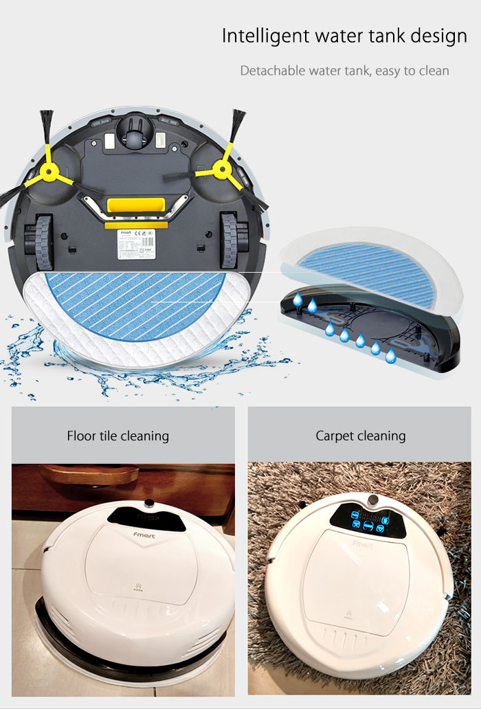 Fmart E - 550W Smart Robotic Vacuum Cleaner Cordless Sweeping Cleaning Machine Self-recharging Timing Function Automatic Mop