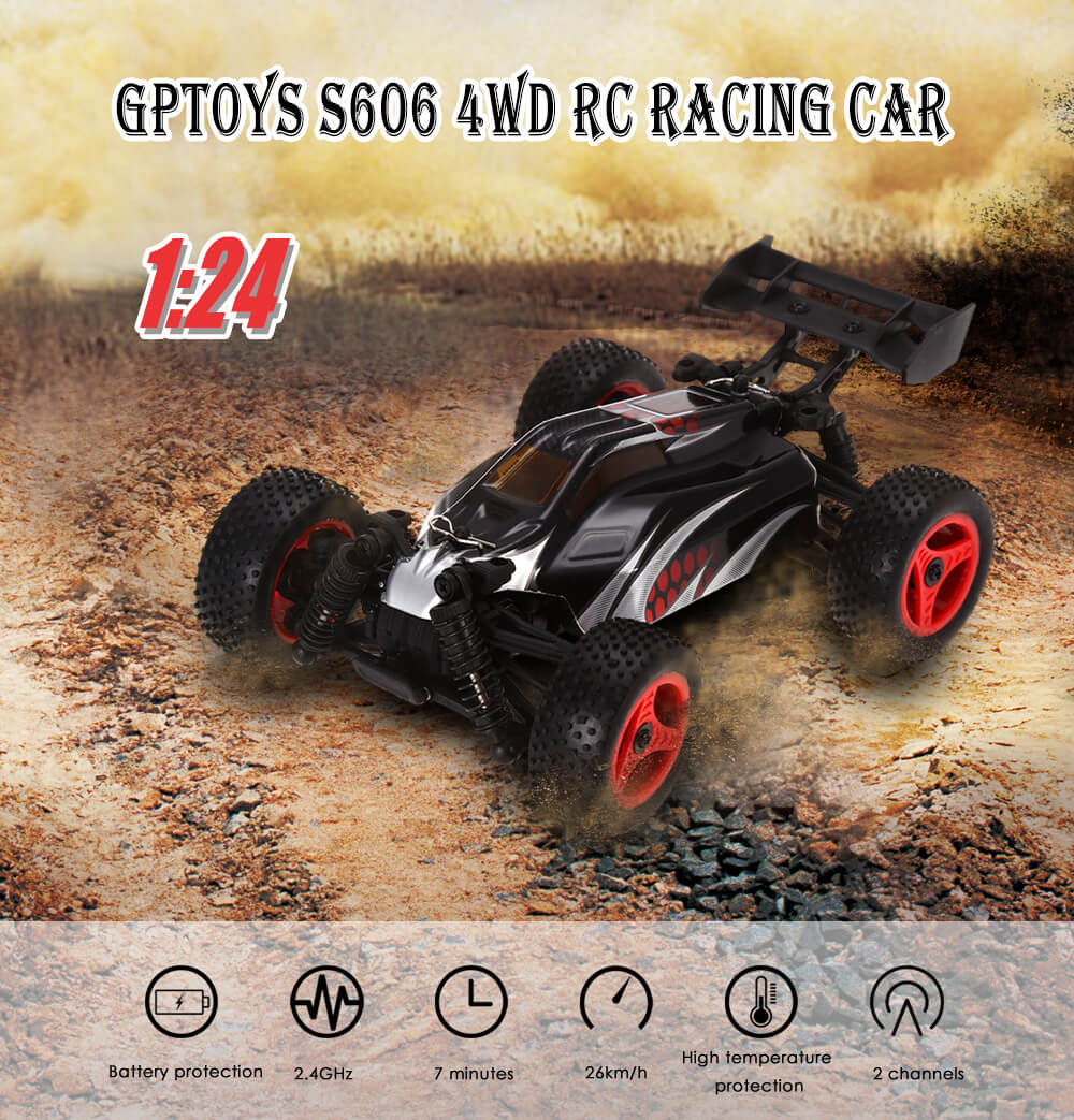 GPTOYS S606 26km/h 1:24 Full Proportional 2CH 2.4GHz 4WD Brushed RC Racing Car
