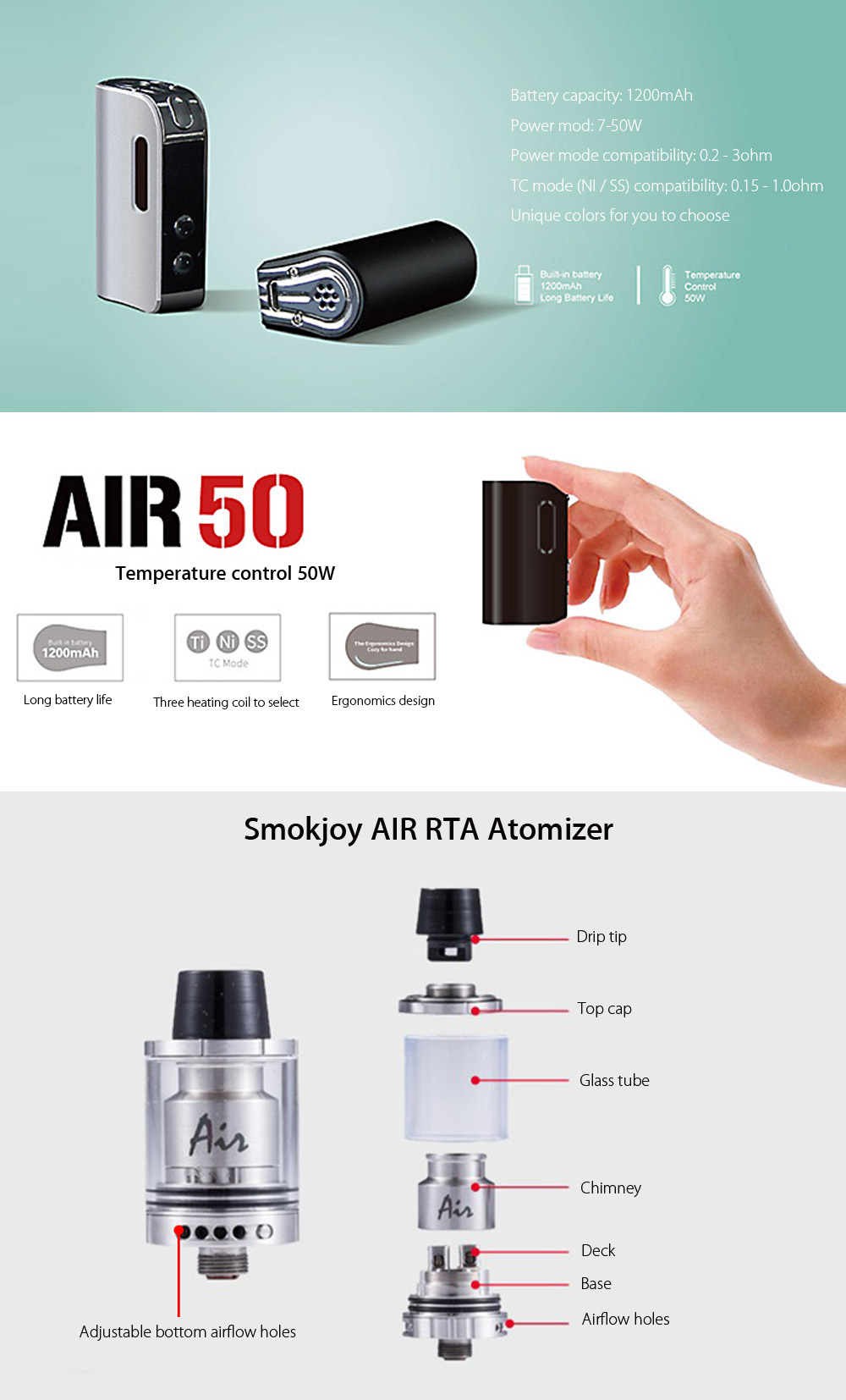 Original Smokjoy AIR 50 TC Starter Kit with 1200mAh / America Imported CPU / Conformal Coating / 7 - 50W / 212 - 600F / Multiple TC Modes / 1.8ml RTA for E Cigarette