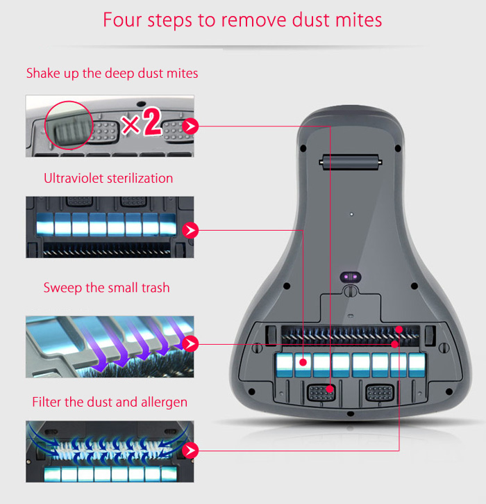 Fmart 400UV Handheld Ultraviolet Light Dust Mites Vacuum Cleaner